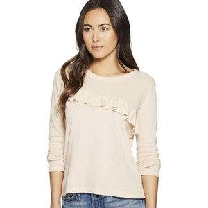 /Lucky Brand/ Assymetrical ruffle blush sweater